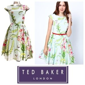 Ted Baker 100% Silk  Floral Fit and Flare Dress